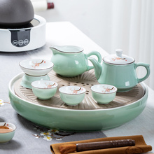 潮汕功es茶具套装家ui景德镇茶盘茶壶盖碗茶杯整套陶瓷茶船