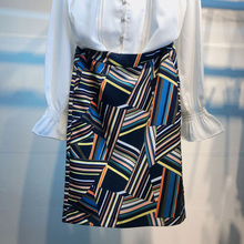 202es夏季专柜女ui哥弟新式百搭拼色印花条纹高腰半身包臀中裙