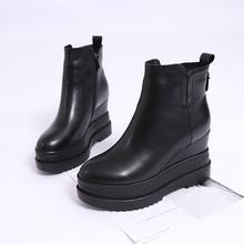 欧洲站es020秋冬en短靴真皮内增高女鞋拉链厚底坡跟宽口靴子女