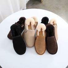 短靴女es020冬季er皮低帮懒的面包鞋保暖加棉学生棉靴子