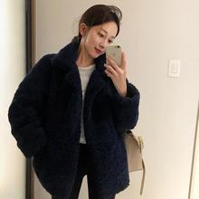 2020冬季韩国宽松羊es8毛棉衣外er式(小)个子(小)棉袄短外套加厚