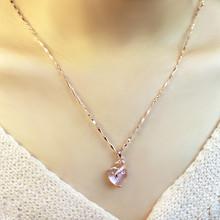 项链女es锁骨瓜子链re瑰金芙蓉石粉水晶吊坠彩金情的节礼物