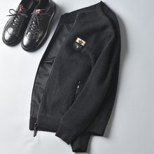 秋冬新式羊es2兔毛貂绒ud保暖针织外套男士修身立领开衫毛衣