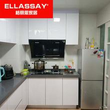 晶钢板es柜整体橱柜on房装修台柜不锈钢的石英石台面全屋定制