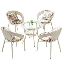 家用(小)et桌。藤椅三io台办公室结实椅靠背椅藤艺吃饭喝茶