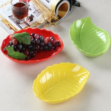2-1ev只装】(小)号du果盘 创意树叶水果盆叶子形干果碟子