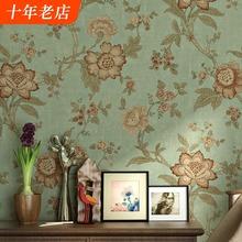美式乡ev田园墙纸复ch风格卧室客厅床头无纺布电视背景墙壁纸