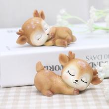 zakewa梅花鹿(小)zi居装饰品可爱卡通动物创意树脂摆设
