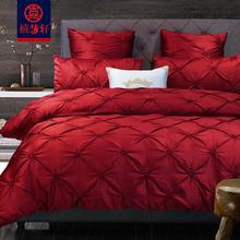 欧式全棉大红色婚ex5四件套贡lu品新婚时尚床上用品多六件套
