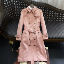 欧货高ex定制202ti女装新长式气质双排扣风衣修身英伦外套抗皱