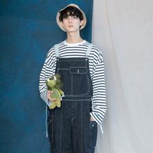 蒙马特ex生 韩国io2工装休闲背带裤中性(小)男孩休闲裤老爹牛仔裤