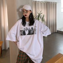 何以沫ex白色短袖to2袖2021夏季新式潮牌网红ins超火嘻哈上衣
