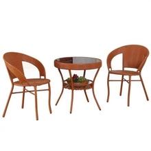 三件店铺滕椅桌椅组合庭院