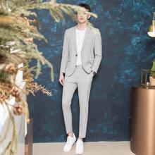CSOey季男士灰色yb套装潮流休闲韩风大学生帅气修身西装新郎