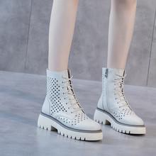 欧洲站f0拍牛皮凉鞋0q0春夏新式子厚底真皮女单靴中跟凉靴女