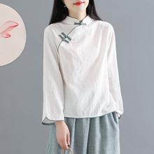 中国风f1古提花棉麻os意中式立领盘扣短式上衣茶服春夏秋女装