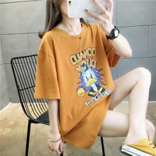 202f1夏季韩款棉os鸭子卡通大码女装中长式上衣短袖t恤女