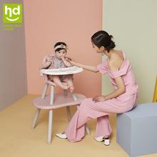 (小)龙哈fa餐椅多功能re饭桌分体式桌椅两用宝宝蘑菇餐椅LY266