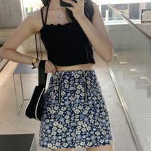 芝士兔fa制 20夏ro复古花色(小)众高腰双拉链显瘦短裙半身裙女