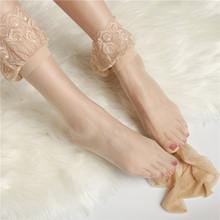 欧美蕾fa花边高筒袜ro滑过膝大腿袜性感超薄肉色