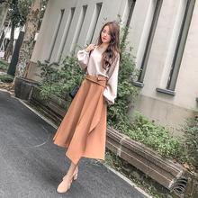 202fa春装新式流ro两件套法国(小)众复古针织很仙的连衣裙女春季