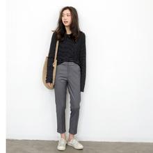 KNGfa 春秋古简ro高腰(小)脚直筒裤休闲西裤九分裤女裤子烟管裤