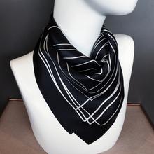 桑蚕丝fa条(小)方巾丝ro丝百搭秋冬季银行职业装饰护颈领巾围巾