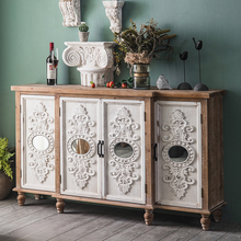 美式复fa实木收纳柜ro奢餐边柜民宿客厅装饰门厅储物柜