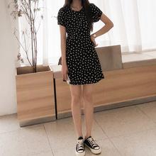 (小)雏菊fa腰雪纺黑色ro衣裙女夏(小)清新复古短裙子夏装