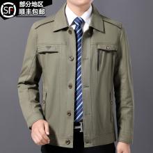 中年男fa春秋季休闲ro式纯棉外套中老年夹克衫爸爸春装上衣服