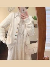 mimfaus201ro新式圆领开衫外套女针织甜美女生百搭气质毛衣上衣