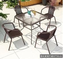 。户外fa椅折叠餐桌hi带伞家用圆形凉台店铺西餐厅露台藤桌。