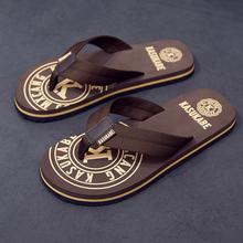 拖鞋男fa季沙滩鞋外ao个性凉鞋室外凉拖潮软底夹脚防滑的字拖