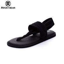 ROCfaY BEAed克熊瑜伽的字凉鞋女夏平底夹趾简约沙滩大码罗马鞋