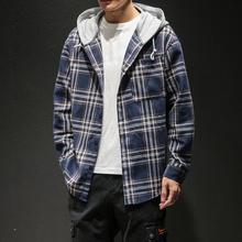 连帽格fa长袖衬衫男ed大码宽松寸衣潮流胖子春装外套2021新式