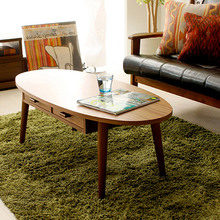 北欧简fa榻榻米咖啡ed木日式椭圆形全实木脚创意木茶几(小)桌子