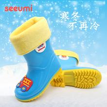 Seefami轻便柔ad秋防滑卡通男童女童宝宝学生胶鞋雨靴
