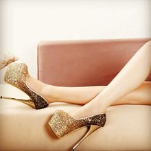 奢华气质超高跟性感金色亮fa9银色婚鞋ad6公分细跟15CM单鞋女