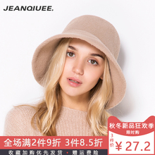 JEAfaQIUEEad女秋冬韩款百搭毛呢渔夫帽日系文艺冬季(小)礼帽新式