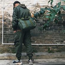 原创设fa纯色简约手ry容量多功能防水单肩旅行包厚帆布斜挎包