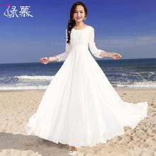 绿慕20fa1春夏新款ry装长袖气质修身显瘦大摆长裙女