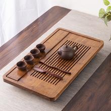 家用简fa茶台功夫茶ry实木茶盘湿泡大(小)带排水不锈钢重竹茶海