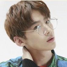 韩款潮fa时尚平光眼ry大脸个性透明色无色无度数零度平镜男式