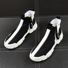 新式男fa短靴韩款潮th靴男靴子青年百搭高帮鞋夏季透气帆布鞋