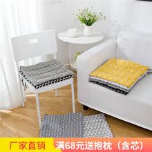 简约日fa棉麻餐椅垫th透气防滑办公室电脑薄式座垫子北欧