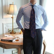 韩款休fa舒适长袖蓝ua经典百搭商务衬衫男青年时尚绅士衬衣潮