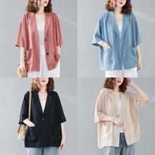 (小)西装外套女薄式夏季fa7款大码宽il纺休闲短式半袖西服上衣