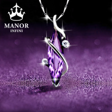 纯银紫fa晶女士项链hu0年新式2021吊坠轻奢(小)众生日礼物送女友