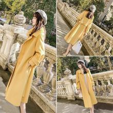 流行大fa女中长式2ui年冬新式女装高端轻奢呢子过膝黄色毛呢外套