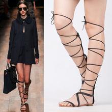 欧美大fa交叉绑带沙sf时尚高帮凉鞋长筒凉鞋系带露趾罗马女鞋